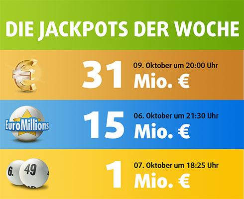 Übersicht der Lotto-Jackpots der Kalenderwoche 41